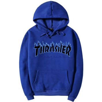 """Thrasher""Quality hooded sweater flame slide hip sweater Blue"