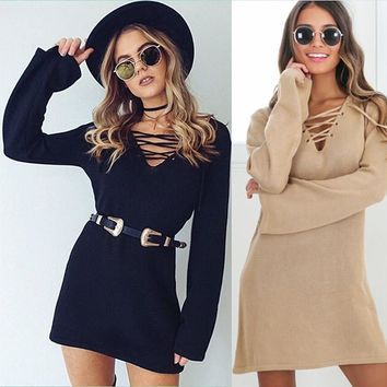 Women Autumn Sweater Dresses Deep V Neck Long Sleeve Casual Woman Dress Bodycon Lace Up
