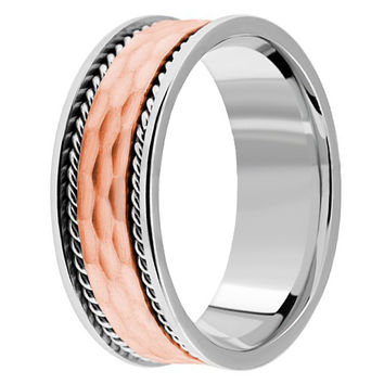 Handmade Textured Wedding Band 14k White & Rose Gold Mens Ring
