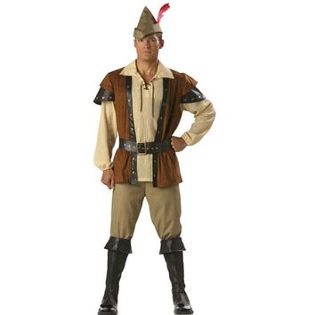 Fashion Man Robin Hood Halloween Costume Cosplay High Quality Movie Role Fancy Carnival Clothing Without The Shoes Uniform