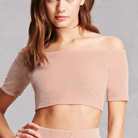 Velvet Off-the-Shoulder Crop Top