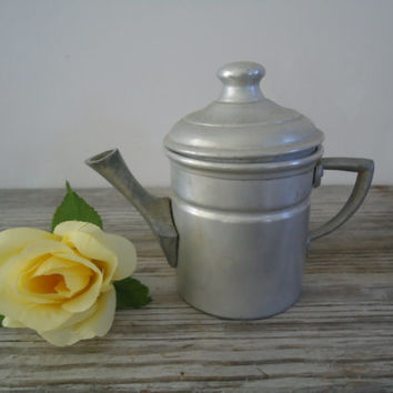 Aluminum Tea Pot / Primitive Stove Top One Cup of Tea or Coffee Pot / Vintage Marked Italy GD 2