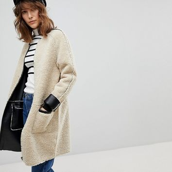 Stradivarius Collarless Teddy Jacket at asos.com