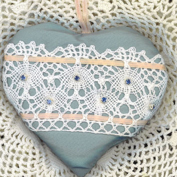 VALENTINE SILK HEART Baby Blue Lace Lavender by TheMaineCoonCat