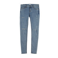 Knee Cut Light-Washed Jeans