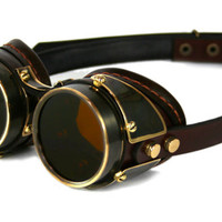 STEAMPUNK GOGGLES dark brown leather blackened brass by MannAndCo