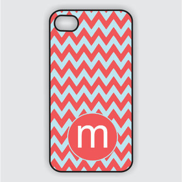 iPhone 4 Case - Light Red Chevron / Tiffany Blue - iPhone Case, iPhone 4 Cover, Fits both iPhone 4 and iPhone 4s