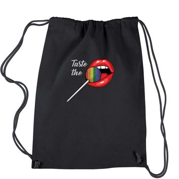 Taste The Rainbow Glitter Lollipop Drawstring Backpack