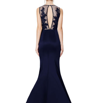 Navy Sheer Floral Bodycon Maxi Dress