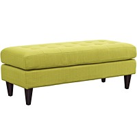 Empress Mid-Century Modern Upholstered Fabric Bench