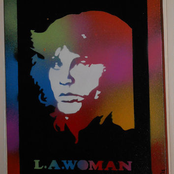Jim Morrison painting,Doors,L.A.woman,stencil art,pop art on canvas,spray paints,music,60s,sixties,Woodstock,multicolored,America,rock,band
