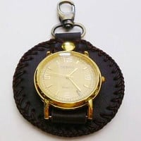 Brown leather watch fob