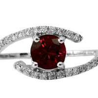 Ruby Diamond Engagement, Engagement Ring, 14K White Gold, Twist Design
