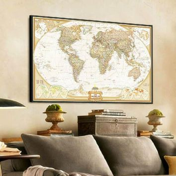 World Map Paper Posters Retro Vintage Style Retro in Wall Stickers Home Decoraction Art Word Map New