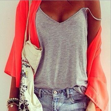 Strap V-Neck Shirt Top Tee