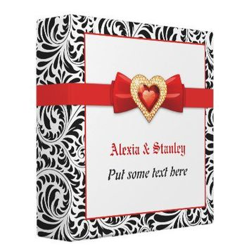 Black white damask with red jewel wedding planner binders from Zazzle.com