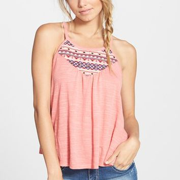 Junior Women's Love on a Hanger Embroidered Tank