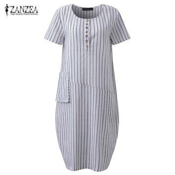 2018 ZANZEA Women Vintage Striped O Neck Short Sleeve Buttons Pockets Baggy Loose Midi Dress Cotton Linen Vestido Plus Size