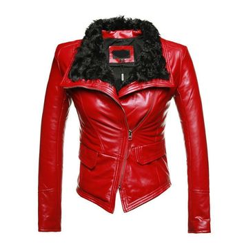 Stylish Fur Leather Motorcycle Jackets