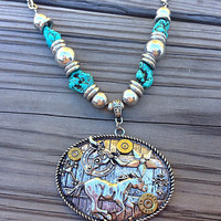 Western necklace with bullet casings. Belt buckle pendant. Turquoise necklace.