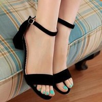 Big Size 34-43 Fashion Thick Med Heels Platform Sandal Dress Shoes For Women Sexy Casual Buckle Strap Summer Dress Shoes Shoes