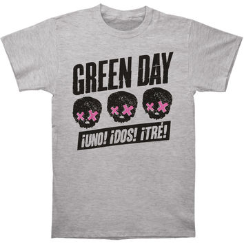Green Day Men's  3 Heads Better Than 1 T-shirt Grey Rockabilia