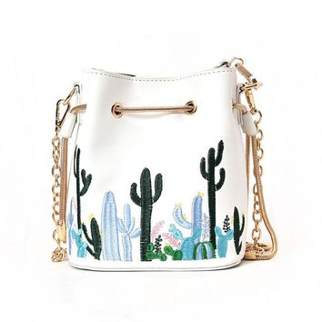 Cacti Embroidery Bucket Handbag - White