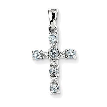 925 Rhodium Flashed Silver Round and Pear Aquamarine and Diamond Cross Pendant Charm - 22mm