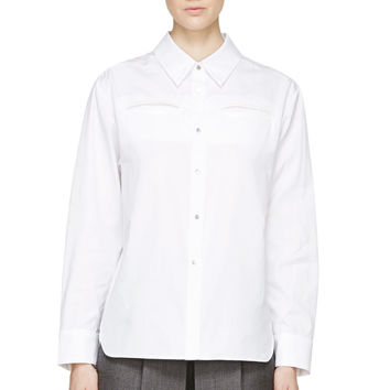 S By S Studio White Deep Blouse