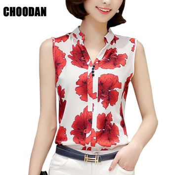 Women Blouses And Shirts 2017 Summer Elegant Sleeveless Flower/Butterfly/Plaid Print Shirt Ladies Tops Plus Size Female Clothing