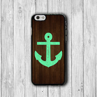 Mint Leopard Anchor Wood iPhone 6 Cases, Blue Dark Wooden iPhone 5S, iPhone 4, iPhone 4S Hard Case, Rubber Deco Hipster Accessorie Cover