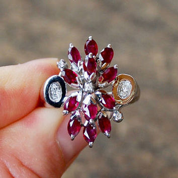 Vintage 18K White Gold Ruby Diamond Ring Waterfall Ballerina Cocktail Statement Numbered 8.4 Grams Size 7 US 1980's // Vintage Fine Jewelry
