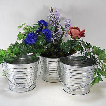 "3pc  5 1/2"" T  6 1/2""W 2 Qt Galvanized Pail bucket Wedding Florist Floral Plant"