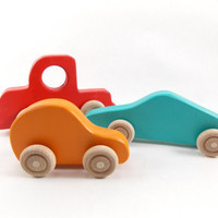 Colorful Wooden Car and Truck Set - wood toy vehicles for baby, toddlers, preschool children. Organic natural toys