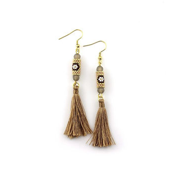 Brown and Gold Miyuki Tassel Earrings