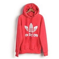"""Adidas"" men and women tide hooded sweatshirt jumper Red"
