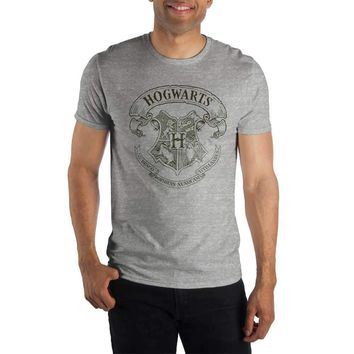 Harry Potter Hogwarts Crest and Latin Motto Draco Dormiens Nunquam Titillandus Women's Gray T-Shirt Shirt