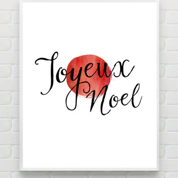 Christmas Art Print, Printable Christmas Wall Art, Joyeux Noel, Watercolor Holiday Art Print, Holiday Printable, Instant Download Wall Decor