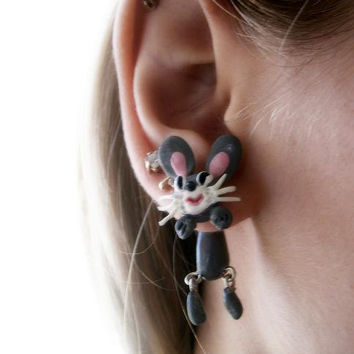 fake gauge plug two part earrings funny bunny , Polymer clay, handmade