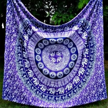 Bohemian Boho Purple Wall Hanging Bed Beach Tapestry