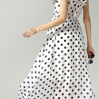 MapleClan White & Black Polka Dot High Neck Bowknot Back Sleeveless Swing Dress