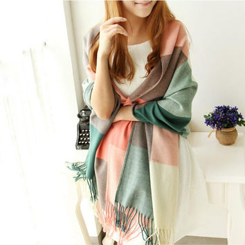 Scarf Women Winter Cachecol Women European And American Style !2016 Winter Light Fringe Scarves Long Shawl Tassel Cashmere Cg