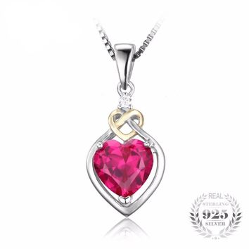 Love Knot Heart 2.5ct Created Red Ruby 925 Silver&18K plate Gold Pendant Necklace 45cm Chain
