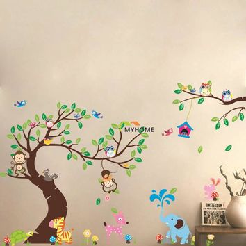 Large Size (3pcs/set) World of Animals Cartoon Monkey Owl Wall Stickers Tree Wall Decals for Nursery Child Kids Rooms Decor