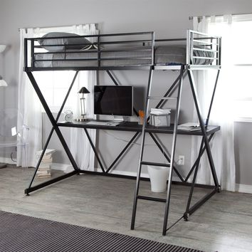 Modern Black Metal Twin Size Bunk Bed Loft With Desk & Ladder