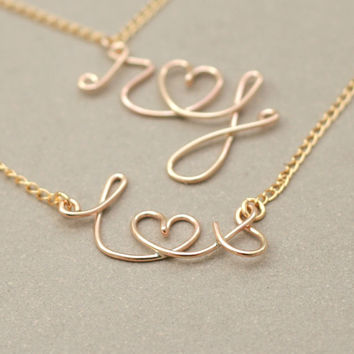 gold monogram necklace. gold initials and heart. two personalized initials. tiny heart. love letter. gold filled wire NECKLACE.