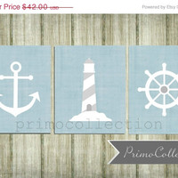 Nursery Wall Art Prints / nautical theme / 8x10 inch / trio / set of three / gray and light blue / anchor / baby boy / boy's room decor