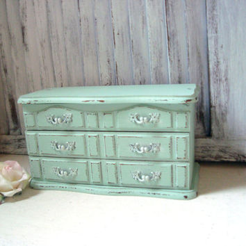 Mint Jewelry Box, Vintage Wooden Jewelry Holder, Shabby Chic Pastel Green Jewelry Chest, Gift Ideas