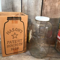 Vintage 2 1/2 gallon mason jar, pickle jar, Libbey jar, metal lid, country store, jar, mason, canister storage, decor