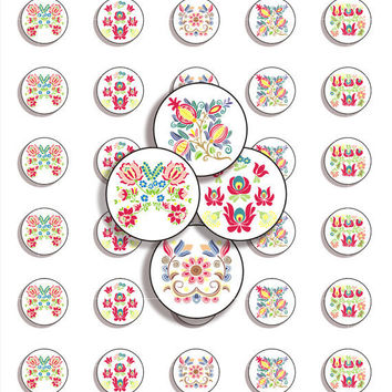 Digital Collage Sheet -  Traditional Folk Art - Embroidery - 1 inch x 1 inch ( 25 mm) circles